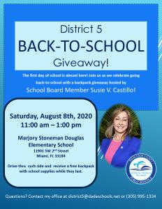 Back to School Giveaway @ Marjory Stoneman Douglas Elementary